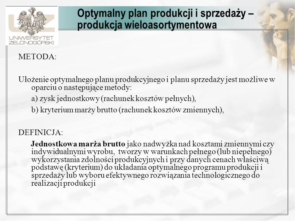Optymalny plan produkcji i sprzedaży – produkcja wieloasortymentowa METODA: Ułożenie optymalnego planu produkcyjnego i planu sprzedaży jest możliwe w