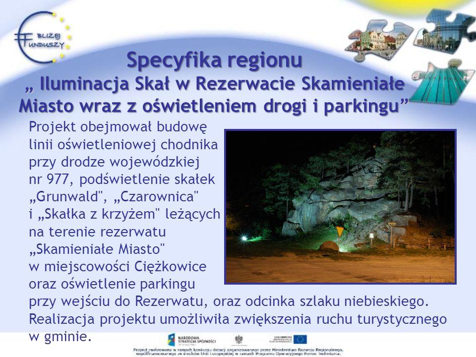 Zrealizowany w ramach EFRR Wielkość dofinansowania: 69 215,42 zł Całkowita wartość projektu: 145 838,22 zł Specyfika regionuIluminacja Skał w Rezerwacie Skamieniałe Miasto wraz z oświetleniem drogi i parkingu