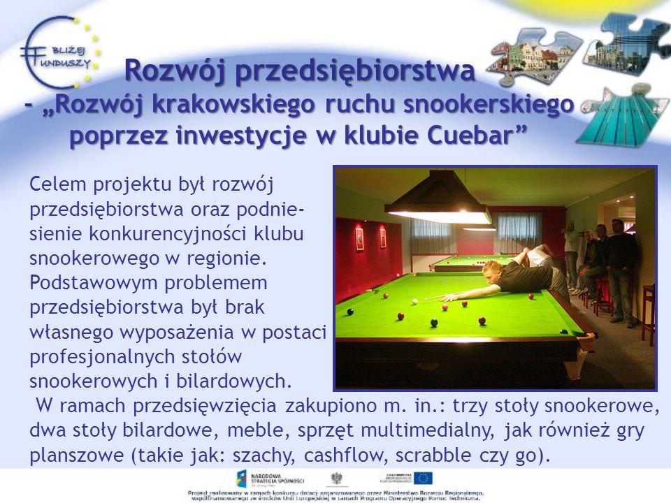 Rozwój przedsiębiorstwa - Rozwój krakowskiego ruchu snookerskiego poprzez inwestycje w klubie Cuebar Zrealizowany w ramach EFRR Wielkość dofinansowania: 30 545,79 zł Całkowita wartość projektu: 106 908,86 zł