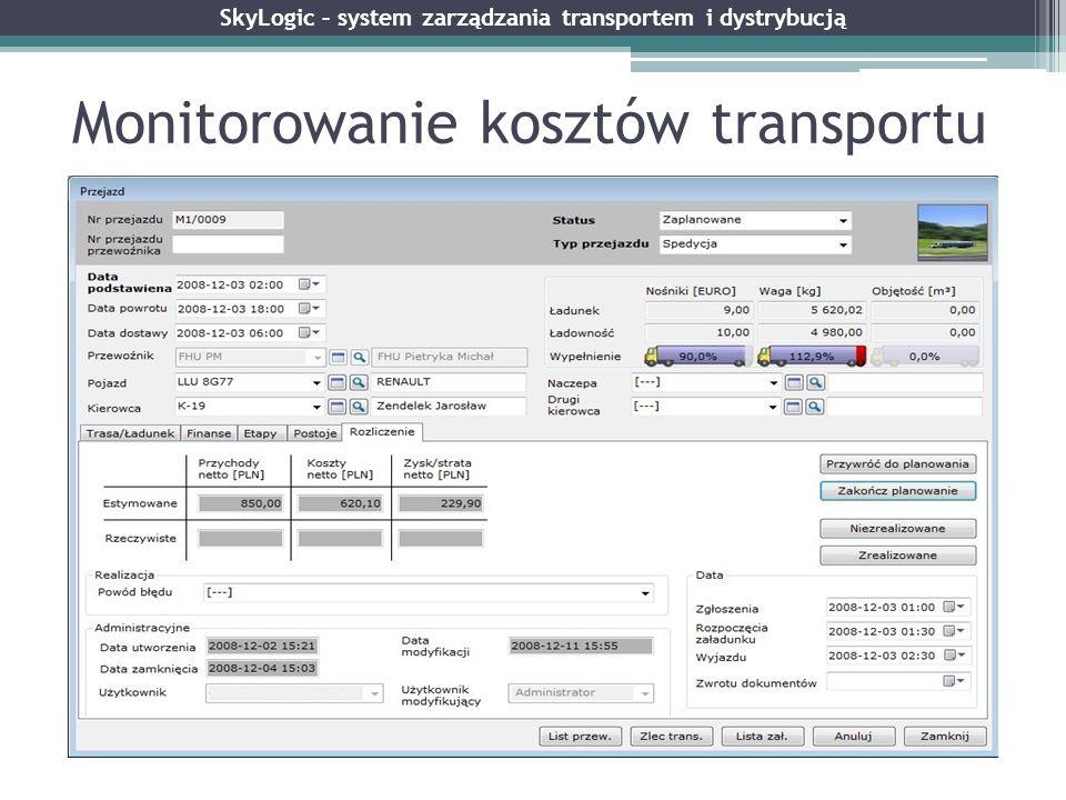 Monitorowanie kosztów transportu SkyLogic – system zarządzania transportem i dystrybucją