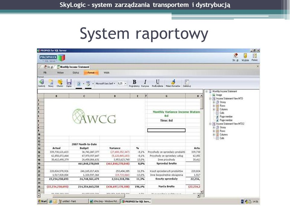 System raportowy SkyLogic – system zarządzania transportem i dystrybucją