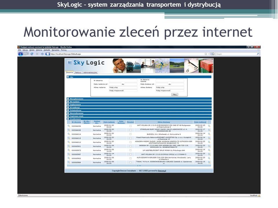 Monitorowanie zleceń przez internet SkyLogic – system zarządzania transportem i dystrybucją