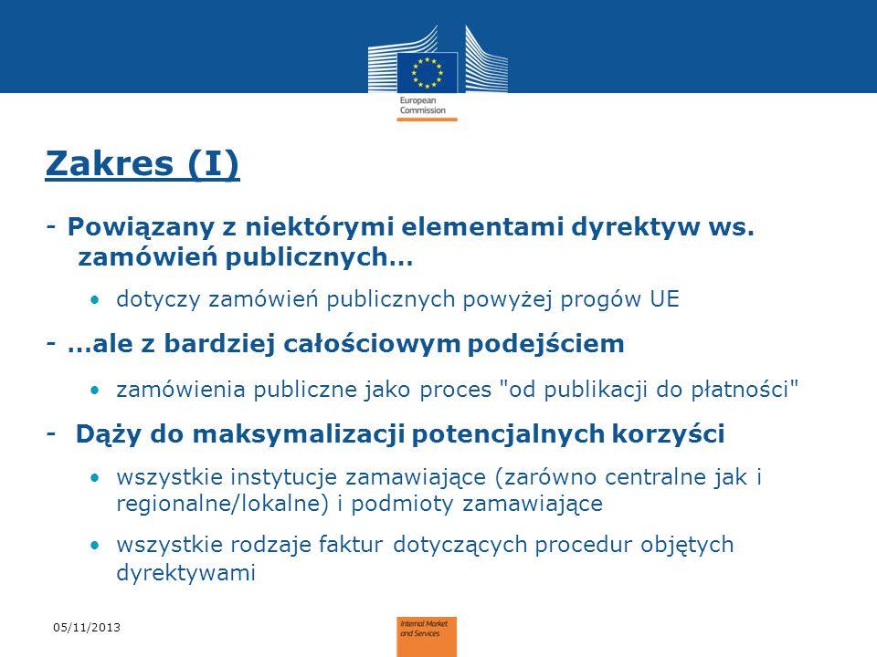 Zakres (I) - Powiązany z niektórymi elementami dyrektyw ws. zamówień publicznych… dotyczy zamówień publicznych powyżej progów UE - …ale z bardziej cał