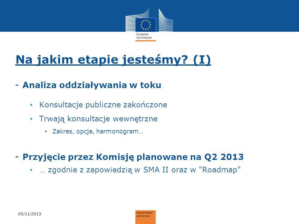 Na jakim etapie jesteśmy? (I) - Analiza oddziaływania w toku Konsultacje publiczne zakończone Trwają konsultacje wewnętrzne Zakres, opcje, harmonogram