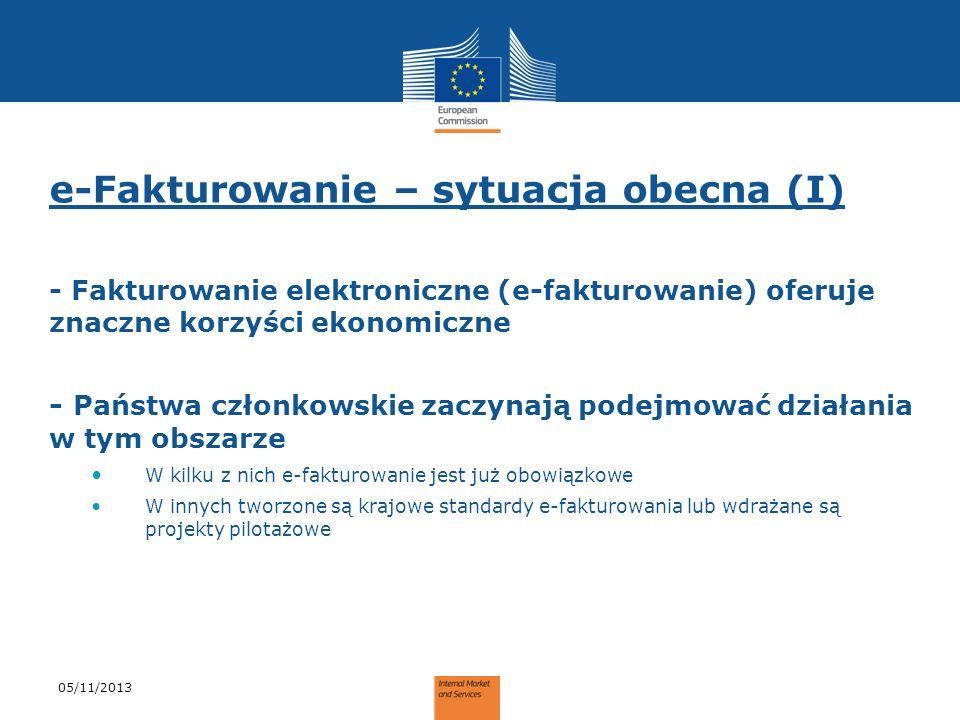 e-Fakturowanie – sytuacja obecna (I) - Fakturowanie elektroniczne (e-fakturowanie) oferuje znaczne korzyści ekonomiczne - Państwa członkowskie zaczyna