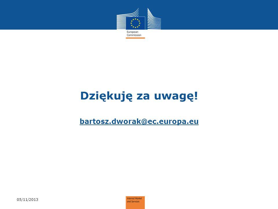 Dziękuję za uwagę! bartosz.dworak@ec.europa.eu 05/11/2013