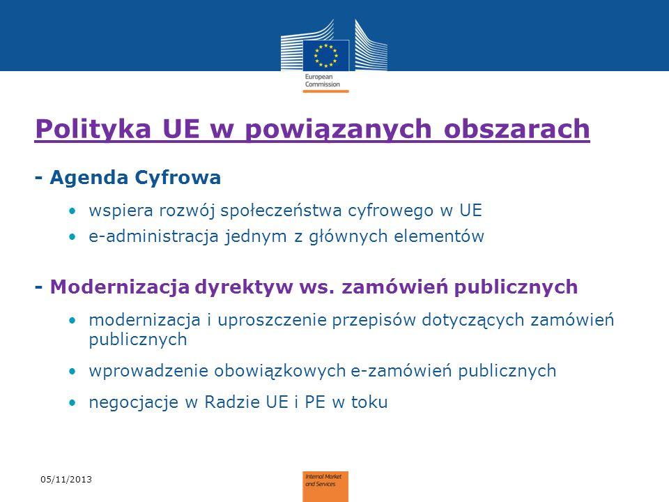 Polityka UE w powiązanych obszarach - Agenda Cyfrowa wspiera rozwój społeczeństwa cyfrowego w UE e-administracja jednym z głównych elementów - Moderni