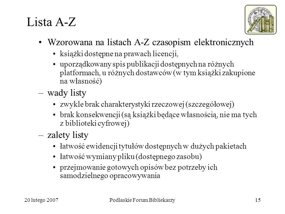 20 lutego 2007Podlaskie Forum Bibliekarzy15 Lista A-Z Wzorowana na listach A-Z czasopism elektronicznych książki dostępne na prawach licencji, uporząd