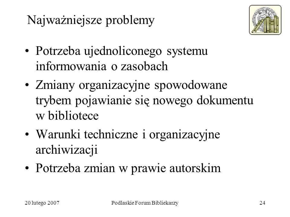 20 lutego 2007Podlaskie Forum Bibliekarzy24 Najważniejsze problemy Potrzeba ujednoliconego systemu informowania o zasobach Zmiany organizacyjne spowod