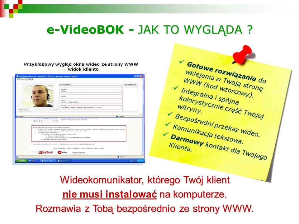 Przykładowy wygląd okna wideo ze strony WWW – widok klienta Wideokomunikator, którego Twój klient na komputerze.