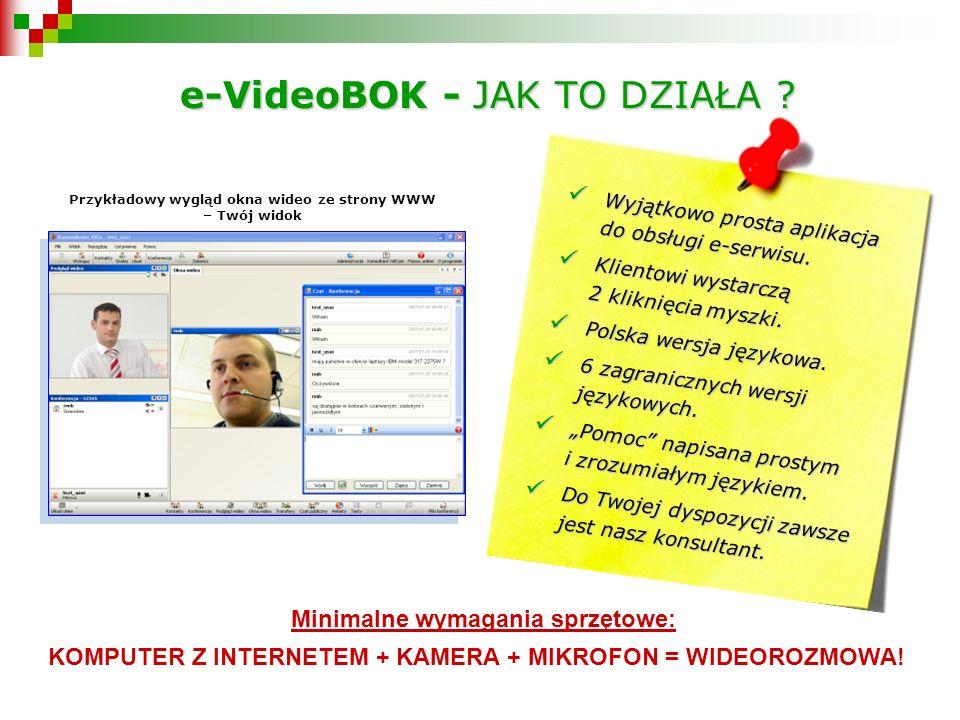 Przykładowy wygląd okna wideo ze strony WWW – Twój widok Minimalne wymagania sprzętowe: KOMPUTER Z INTERNETEM + KAMERA + MIKROFON = WIDEOROZMOWA.