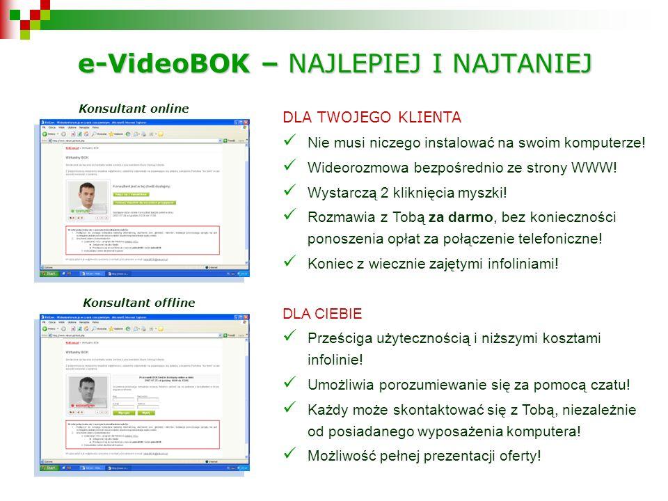 e-VideoBOK – NAJLEPIEJ I NAJTANIEJ Konsultant online Konsultant offline DLA TWOJEGO KLIENTA Nie musi niczego instalować na swoim komputerze.