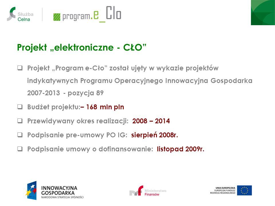 Projekt elektroniczne - CŁO Projekt Program e-Cło został ujęty w wykazie projektów indykatywnych Programu Operacyjnego Innowacyjna Gospodarka 2007-201