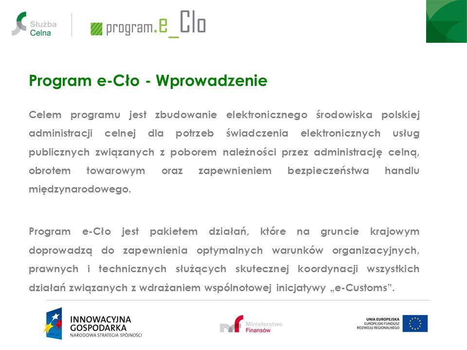 Program e-Cło - Wprowadzenie Celem programu jest zbudowanie elektronicznego środowiska polskiej administracji celnej dla potrzeb świadczenia elektroni