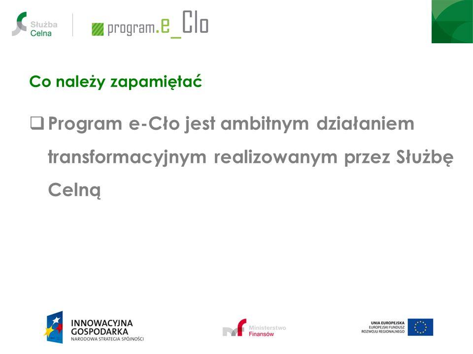 Korzyści i oddziaływanie Wzrost sprawności i przyjazności obsługi przedsiębiorców w obszarze związanym z poborem należności przez administrację celną, obrotem towarowym oraz zapewnieniem bezpieczeństwa handlu międzynarodowego Usprawnienie współpracy pomiędzy polską administracją celną a instytucjami współpracującymi Wzrost efektywności procesów wewnętrznych administracji celnej Racjonalizacja wydatków administracji celnej związanych z informatyzacją