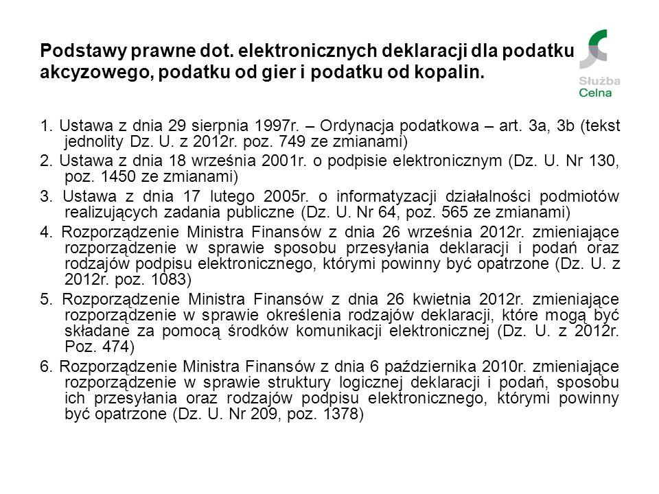 Podstawy prawne dot. elektronicznych deklaracji dla podatku akcyzowego, podatku od gier i podatku od kopalin. 1. Ustawa z dnia 29 sierpnia 1997r. – Or