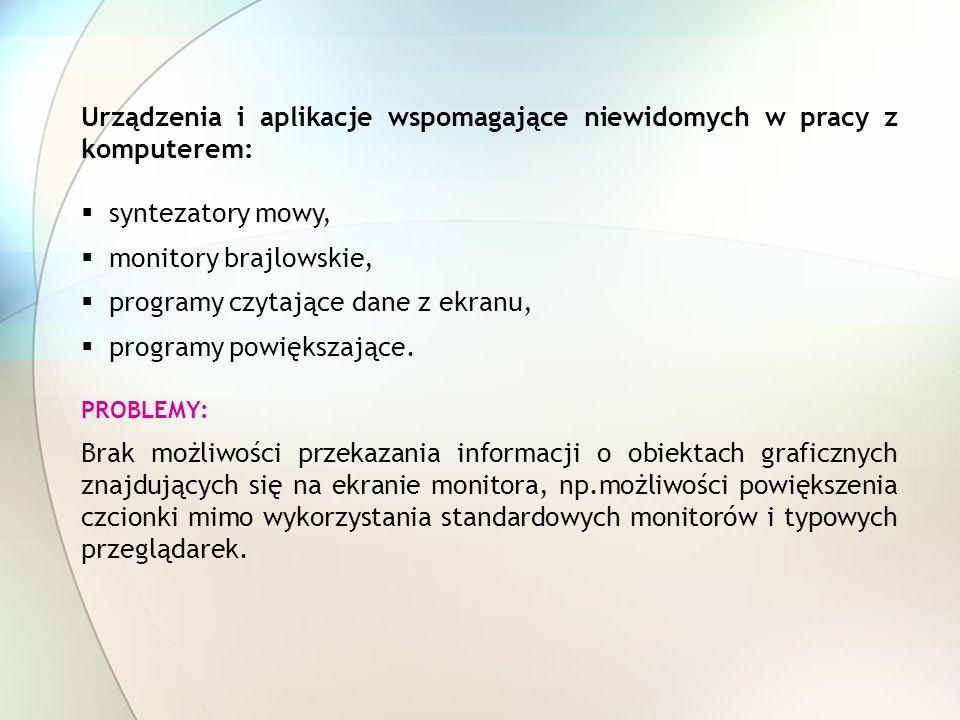 Urządzenia i aplikacje wspomagające niewidomych w pracy z komputerem: syntezatory mowy, monitory brajlowskie, programy czytające dane z ekranu, progra