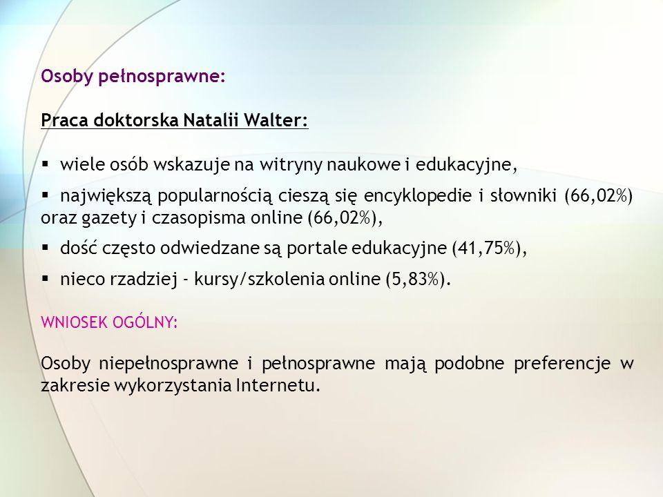 Osoby pełnosprawne: Praca doktorska Natalii Walter: wiele osób wskazuje na witryny naukowe i edukacyjne, największą popularnością cieszą się encyklope