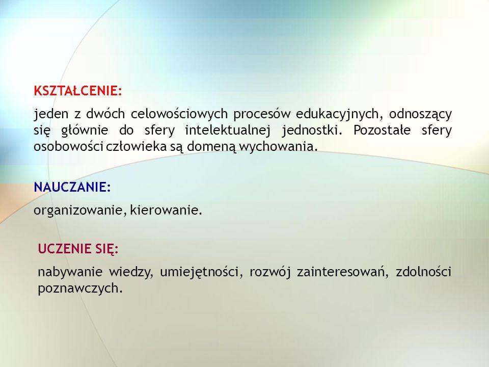 EDUKACJA: wychowanie głównie pod względem umysłowym (słownik języka polskiego).