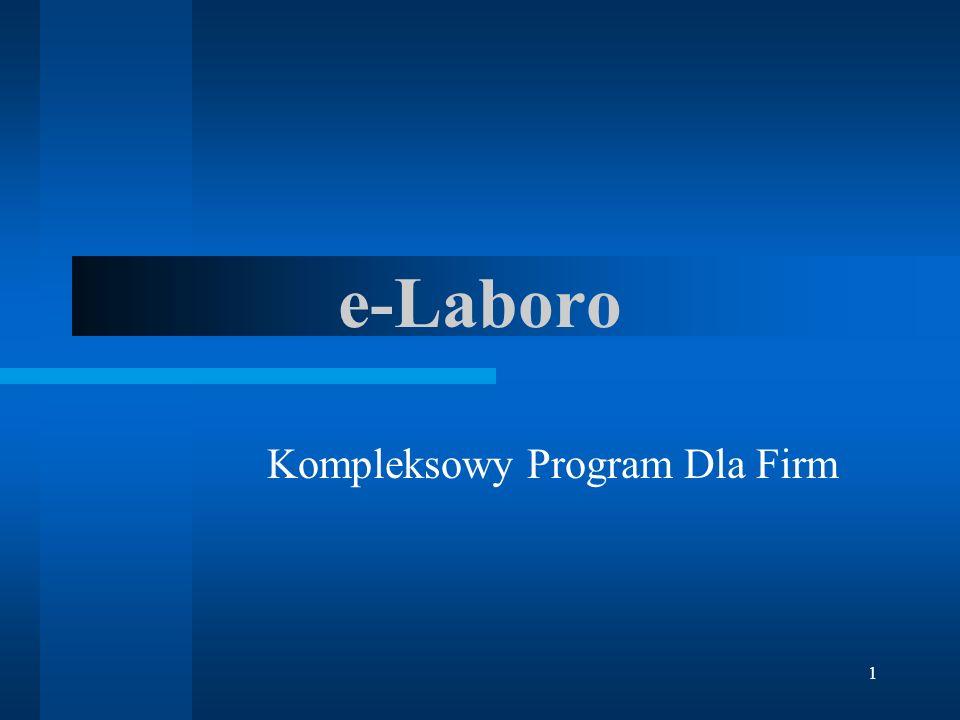 12 zalety programu e-Laboro przyjazny dla użytkownika program e-Laboro wykorzystuje zarówno Internet jak i standardową przeglądarkę internetową.