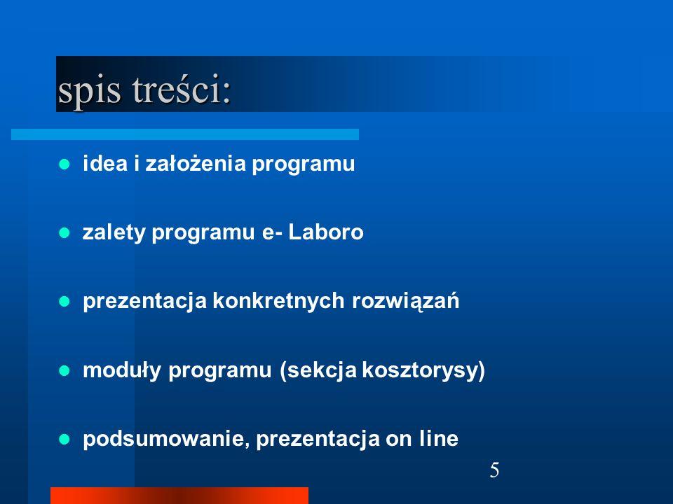 26 Moduły programu sekcja kosztorysy harmonogram materiałów