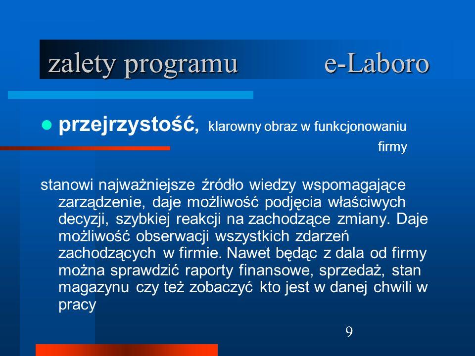 10 zalety programu e-Laboro mobilność program e- Laboro daje możliwość prowadzenia firmy z dowolnego miejsca, o dowolnej porze i przy użyciu dowolnego urządzenia mającego dostęp do Internetu.