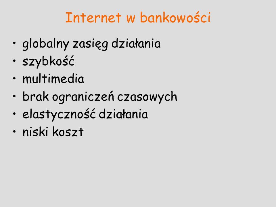 Internet w bankowości globalny zasięg działania szybkość multimedia brak ograniczeń czasowych elastyczność działania niski koszt