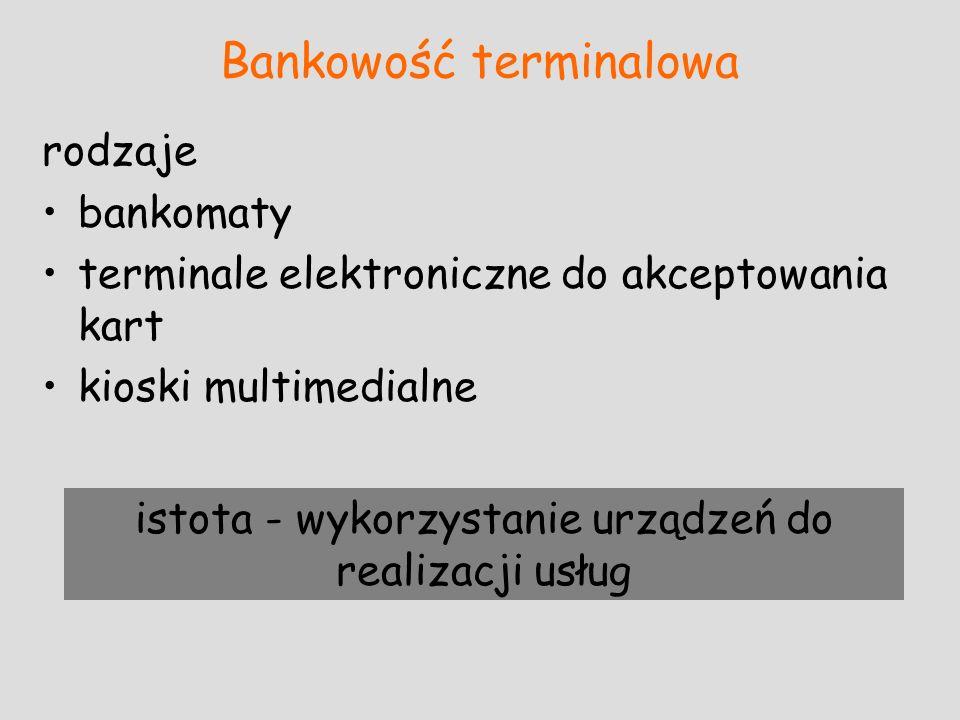 rodzaje bankomaty terminale elektroniczne do akceptowania kart kioski multimedialne istota - wykorzystanie urządzeń do realizacji usług