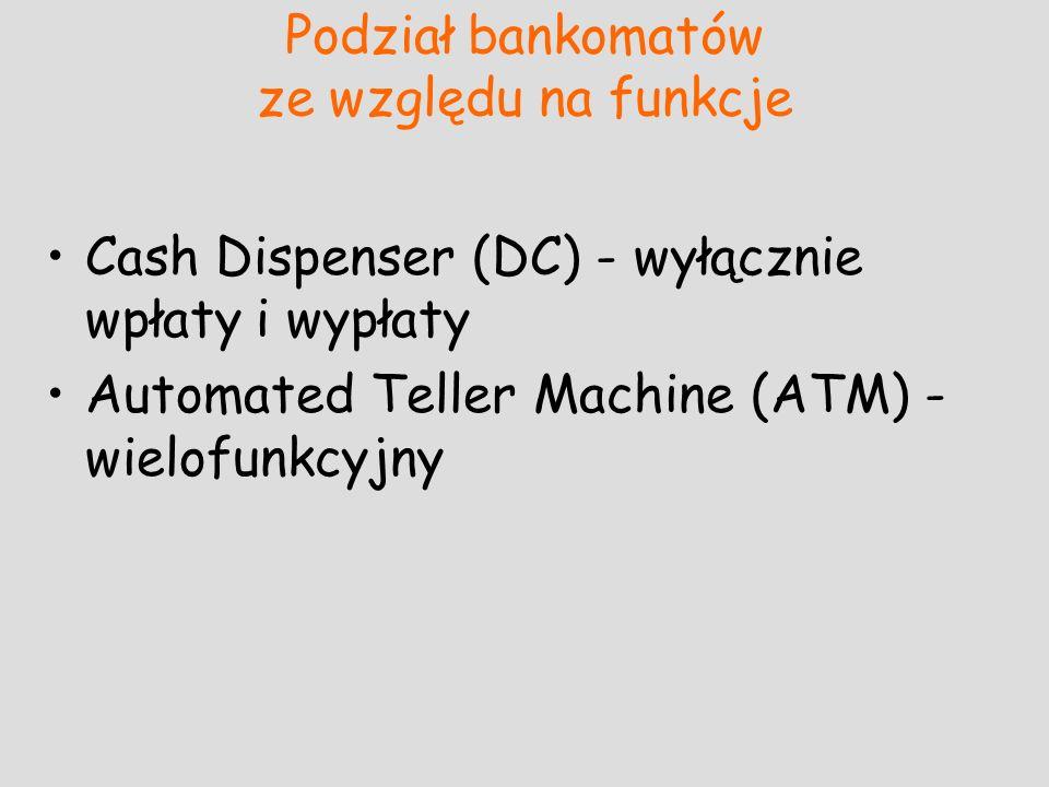 Podział bankomatów ze względu na funkcje Cash Dispenser (DC) - wyłącznie wpłaty i wypłaty Automated Teller Machine (ATM) - wielofunkcyjny