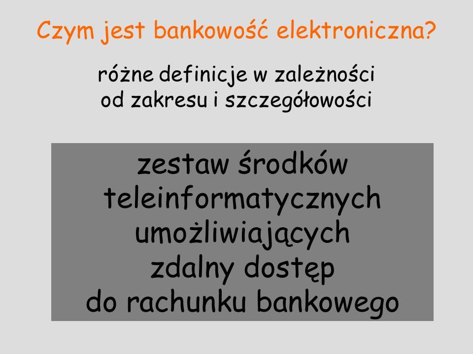 Czym jest bankowość elektroniczna? różne definicje w zależności od zakresu i szczegółowości zestaw środków teleinformatycznych umożliwiających zdalny