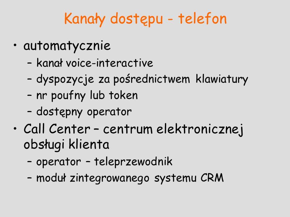 Kanały dostępu - telefon automatycznie –kanał voice-interactive –dyspozycje za pośrednictwem klawiatury –nr poufny lub token –dostępny operator Call C
