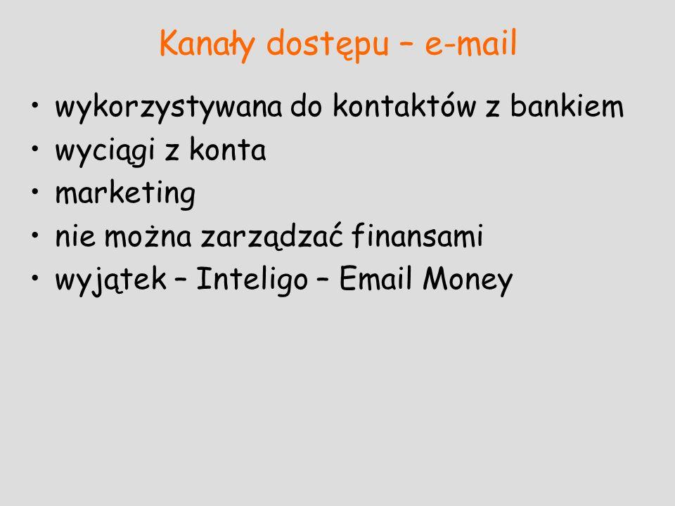 Kanały dostępu – e-mail wykorzystywana do kontaktów z bankiem wyciągi z konta marketing nie można zarządzać finansami wyjątek – Inteligo – Email Money
