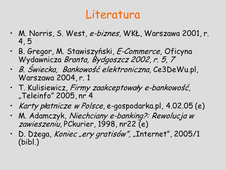Literatura M. Norris, S. West, e-biznes, WKŁ, Warszawa 2001, r. 4, 5 B. Gregor, M. Stawiszyński, E-Commerce, Oficyna Wydawnicza Branta, Bydgoszcz 2002