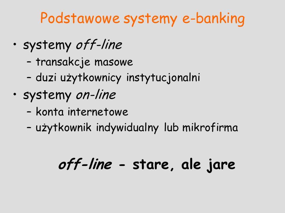 Podstawowe systemy e-banking systemy off-line –transakcje masowe –duzi użytkownicy instytucjonalni systemy on-line –konta internetowe –użytkownik indy