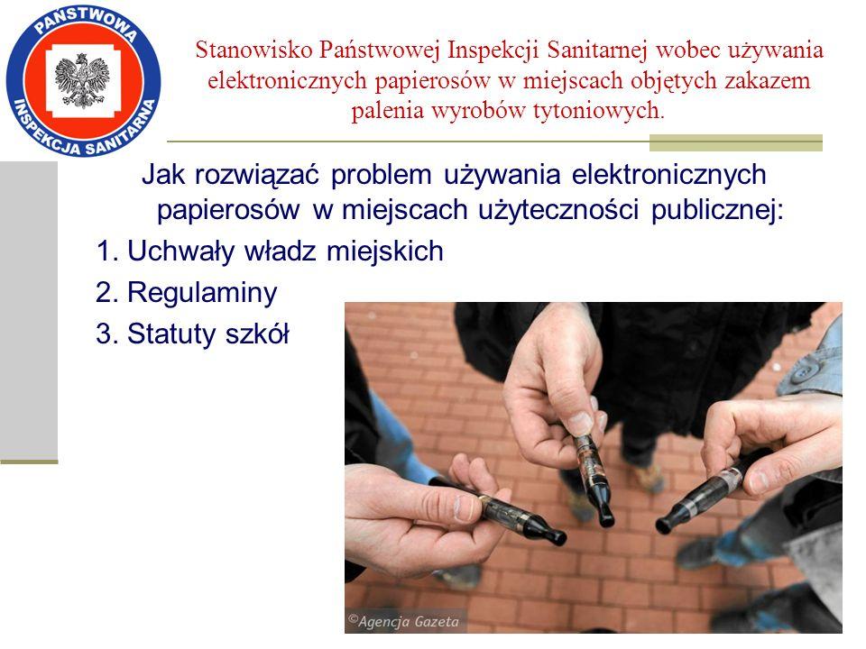 Stanowisko Państwowej Inspekcji Sanitarnej wobec używania elektronicznych papierosów w miejscach objętych zakazem palenia wyrobów tytoniowych. Jak roz