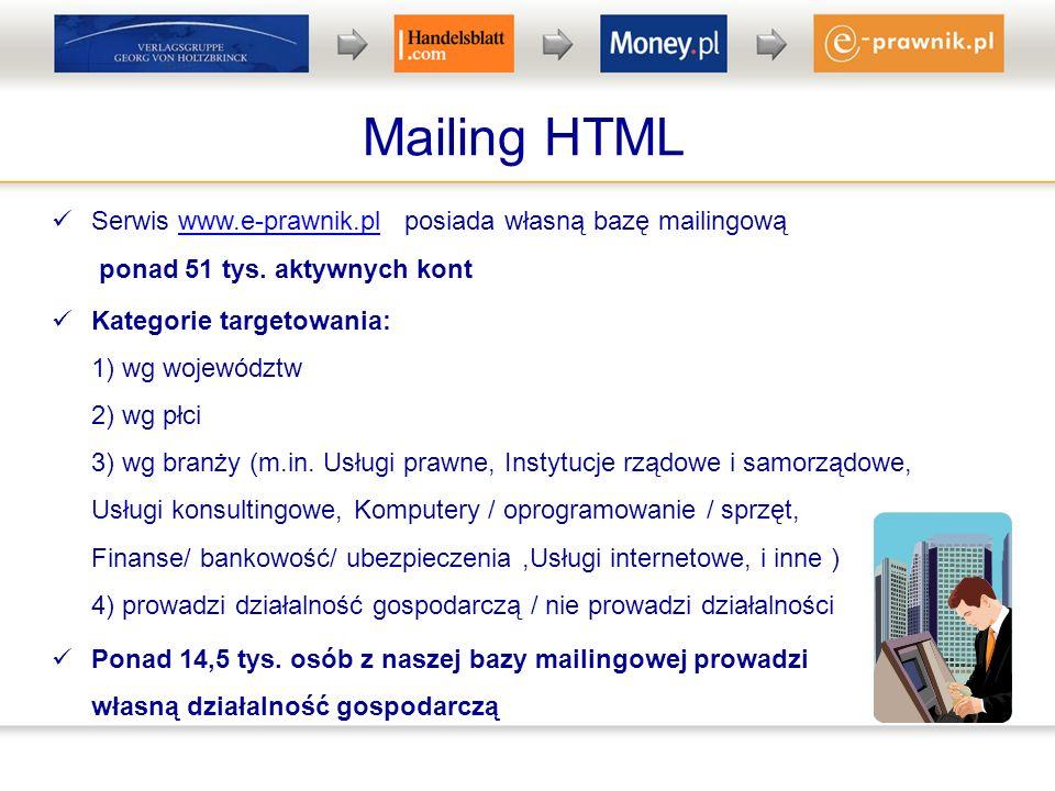 Mailing HTML Serwis www.e-prawnik.pl posiada własną bazę mailingową ponad 51 tys. aktywnych kontwww.e-prawnik.pl Kategorie targetowania: 1) wg wojewód
