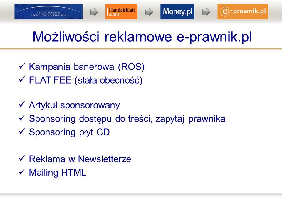 Możliwości reklamowe e-prawnik.pl Kampania banerowa (ROS) FLAT FEE (stała obecność) Artykuł sponsorowany Sponsoring dostępu do treści, zapytaj prawnika Sponsoring płyt CD Reklama w Newsletterze Mailing HTML