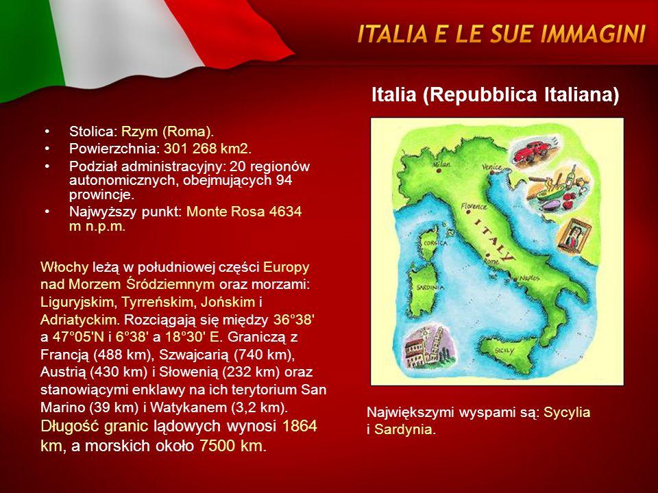 Stolica: Rzym (Roma). Powierzchnia: 301 268 km2. Podział administracyjny: 20 regionów autonomicznych, obejmujących 94 prowincje. Najwyższy punkt: Mont