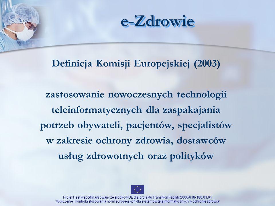 Projekt jest współfinansowany ze środków UE dla projektu Transition Facility 2006/018-180.01.01 Wdrożenie i kontrola stosowania norm europejskich dla systemów teleinformatycznych w ochronie zdrowia TelemedycynaTelemedycyna Świadczenie usług medycznych na odległość przygotowanie wytycznych przygotowanie standardów technologicznych związanych z świadczeniem tych usług promowanie najlepszych rozwiązań