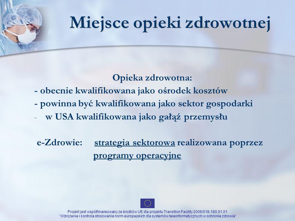 Projekt jest współfinansowany ze środków UE dla projektu Transition Facility 2006/018-180.01.01 Wdrożenie i kontrola stosowania norm europejskich dla systemów teleinformatycznych w ochronie zdrowia Szczegółowy program działań Program Internet w każdej placówce ochrony zdrowia Zastosowanie jednolitych standardów rozwiązań informatycznych w podmiotach ochrony zdrowia Przygotowanie infrastruktury technicznej dla zabezpieczenia świadczeń zdrowotnych wynikających z członkostwa Polski w UE Przygotowanie interoperacyjnych transgranicznych usług e-zdrowia