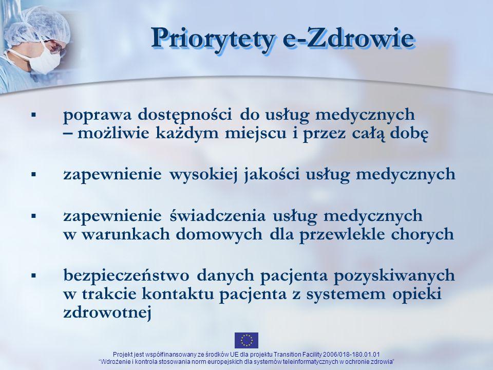 Projekt jest współfinansowany ze środków UE dla projektu Transition Facility 2006/018-180.01.01 Wdrożenie i kontrola stosowania norm europejskich dla systemów teleinformatycznych w ochronie zdrowia Zdrowie w Polsce Strategia Rozwoju Ochrony Zdrowia na lata 2007-2013 (dokument przyjęty przez RM 21.06.2005) poprawa zdrowia społeczeństwa polskiego jako czynnika rozwoju społeczno – gospodarczego kraju: zwiększenie bezpieczeństwa zdrowotnego społeczeństwa poprawa efektywności funkcjonowania systemu ochrony zdrowia dostosowanie opieki zdrowotnej do dynamiki długookresowych trendów demograficznych poprawa stanu zdrowia społeczeństwa polskiego w stopniu zmniejszającym dystans istniejący pomiędzy Polską i średnim poziomem stanu zdrowia w Unii Europejskiej