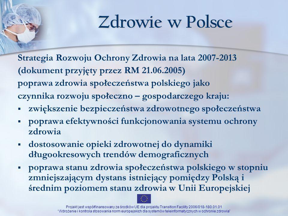 Projekt jest współfinansowany ze środków UE dla projektu Transition Facility 2006/018-180.01.01 Wdrożenie i kontrola stosowania norm europejskich dla systemów teleinformatycznych w ochronie zdrowia Dziękuję za uwagę Andrzej Gabryel