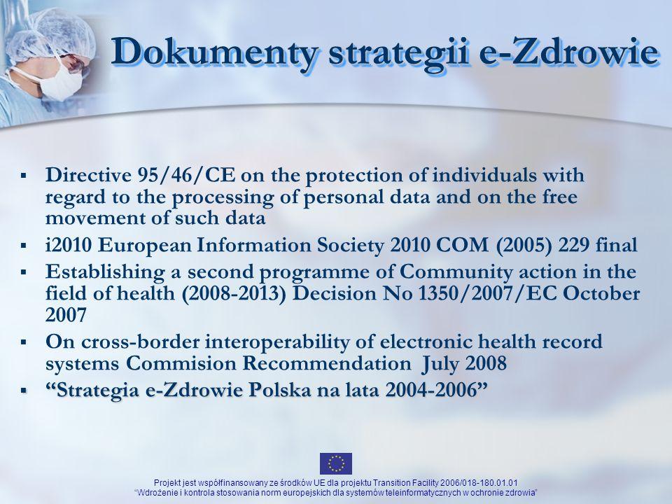 Projekt jest współfinansowany ze środków UE dla projektu Transition Facility 2006/018-180.01.01 Wdrożenie i kontrola stosowania norm europejskich dla systemów teleinformatycznych w ochronie zdrowia Dokumenty strategii e-Zdrowie c.d.