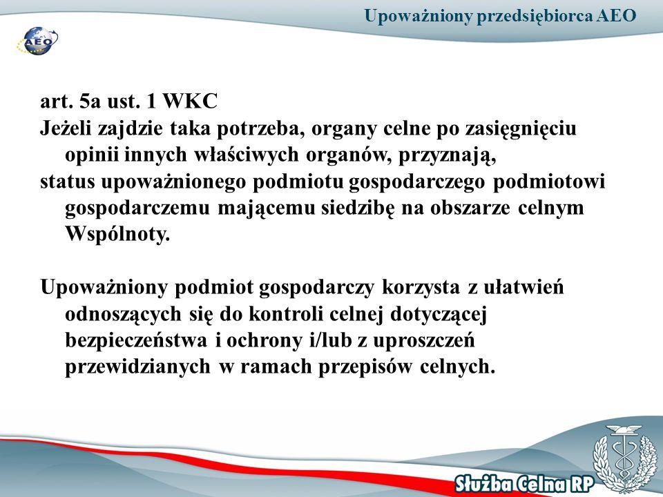 Upoważniony przedsiębiorca AEO art. 5a ust. 1 WKC Jeżeli zajdzie taka potrzeba, organy celne po zasięgnięciu opinii innych właściwych organów, przyzna