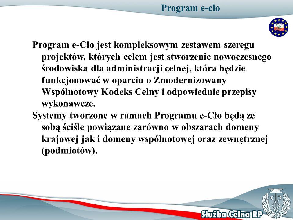 Program e-cło Program e-Cło jest kompleksowym zestawem szeregu projektów, których celem jest stworzenie nowoczesnego środowiska dla administracji celn