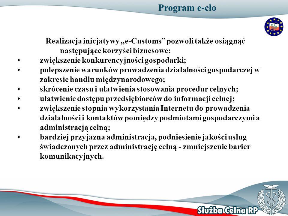5 Program e-cło Realizacja inicjatywy e-Customs pozwoli także osiągnąć następujące korzyści biznesowe: zwiększenie konkurencyjności gospodarki; poleps