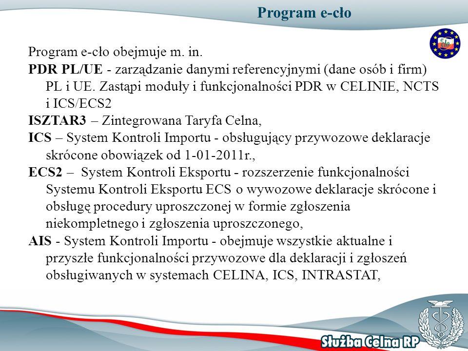 Program e-cło Program e-cło obejmuje m. in. PDR PL/UE - zarządzanie danymi referencyjnymi (dane osób i firm) PL i UE. Zastąpi moduły i funkcjonalności