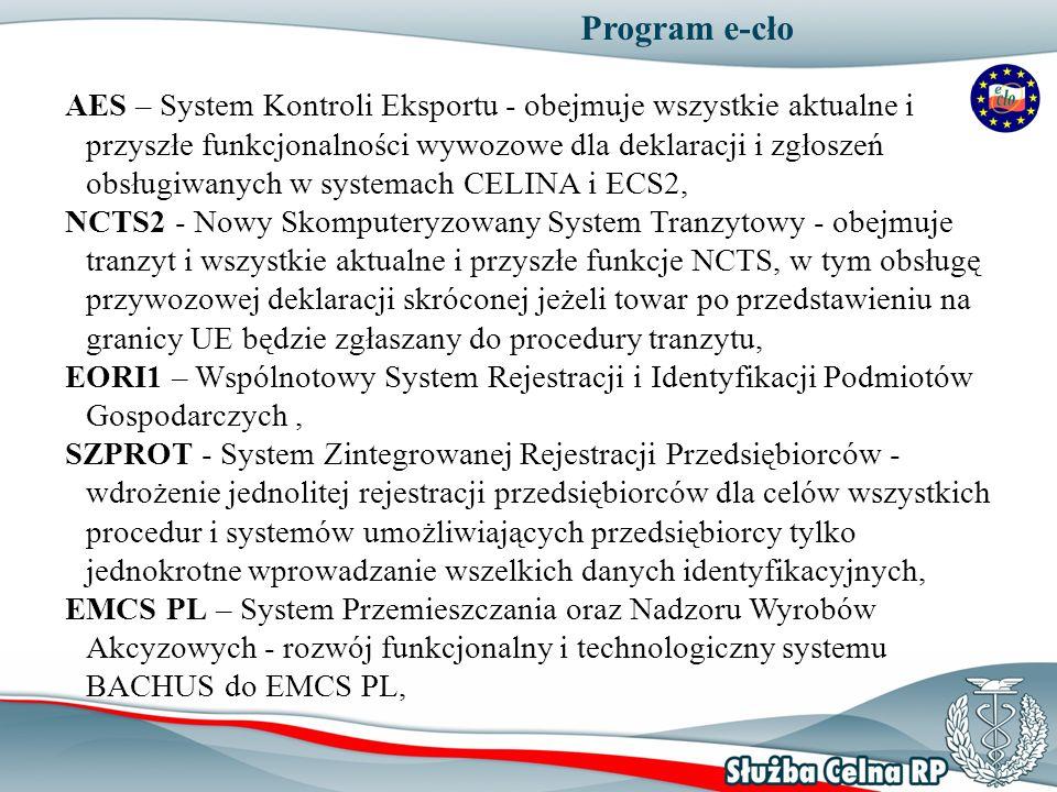 Program e-cło AES – System Kontroli Eksportu - obejmuje wszystkie aktualne i przyszłe funkcjonalności wywozowe dla deklaracji i zgłoszeń obsługiwanych