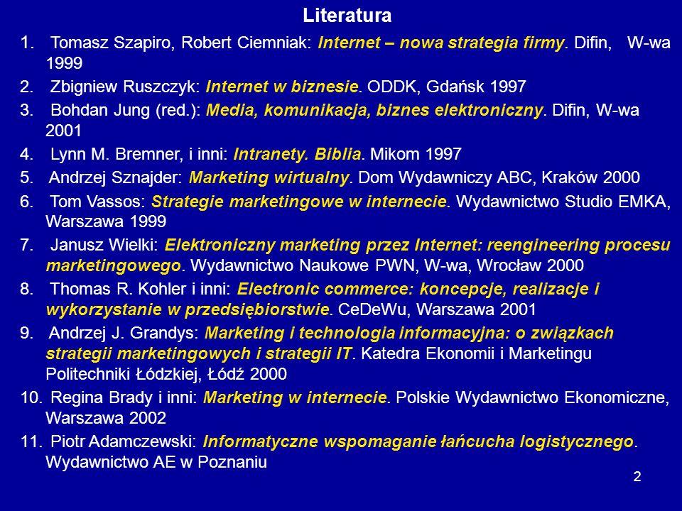 2 Literatura 1. Tomasz Szapiro, Robert Ciemniak: Internet – nowa strategia firmy. Difin, W-wa 1999 2. Zbigniew Ruszczyk: Internet w biznesie. ODDK, Gd