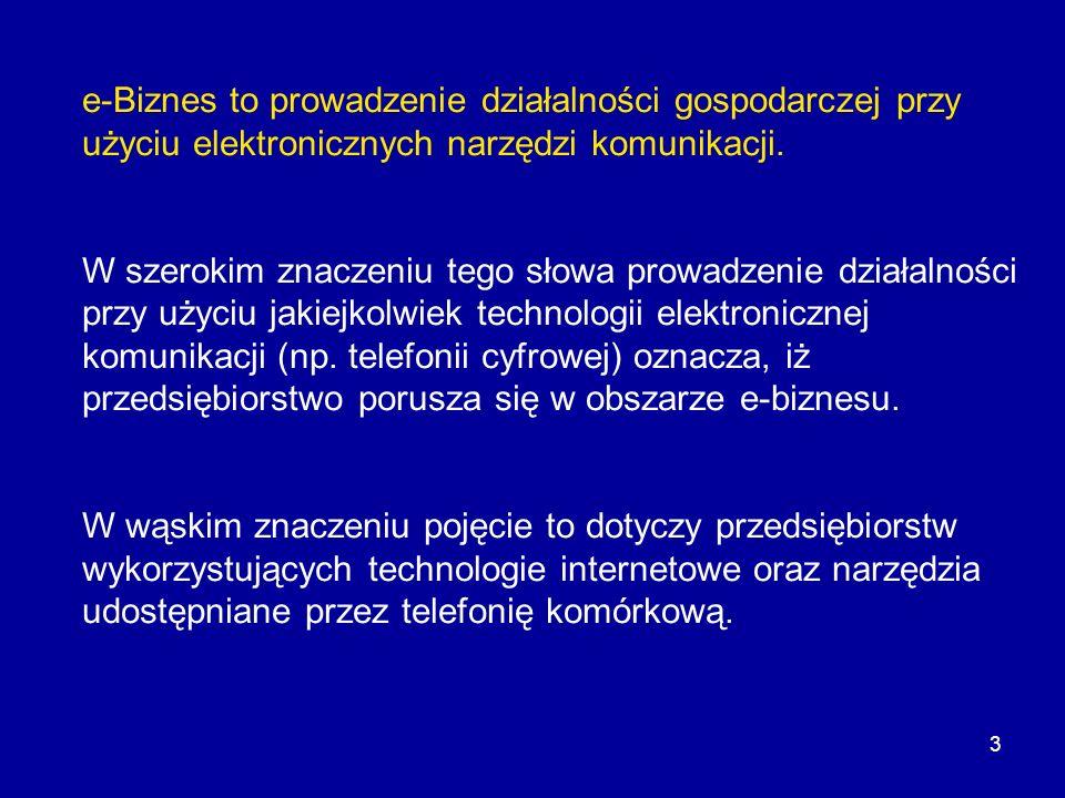 3 e-Biznes to prowadzenie działalności gospodarczej przy użyciu elektronicznych narzędzi komunikacji. W szerokim znaczeniu tego słowa prowadzenie dzia